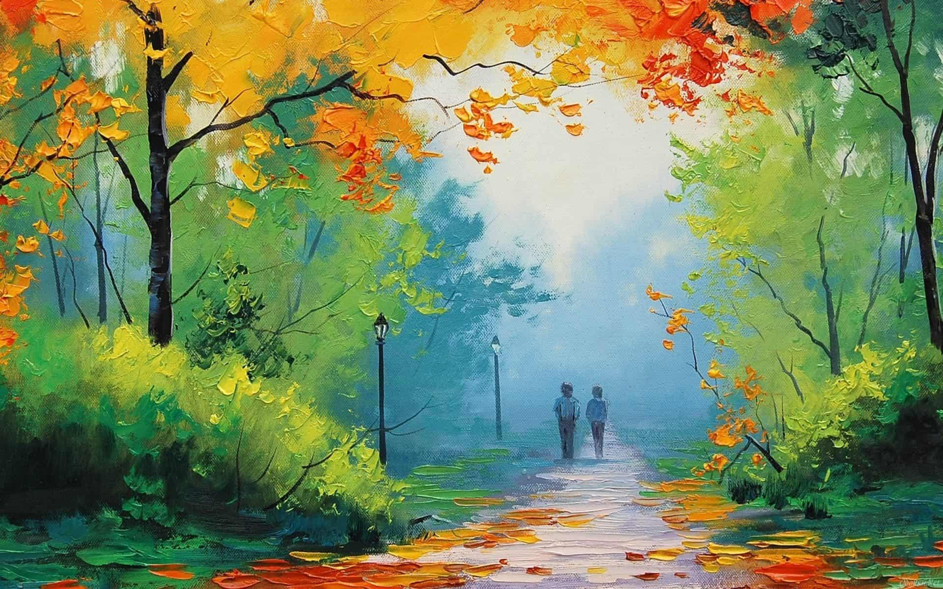 Park nature painting