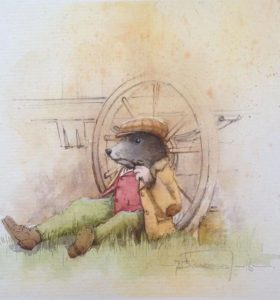 Moley time for a puff Watercolour