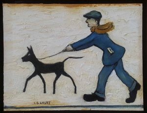 In The Style Of L.S. Lowry – Man Walking Dog