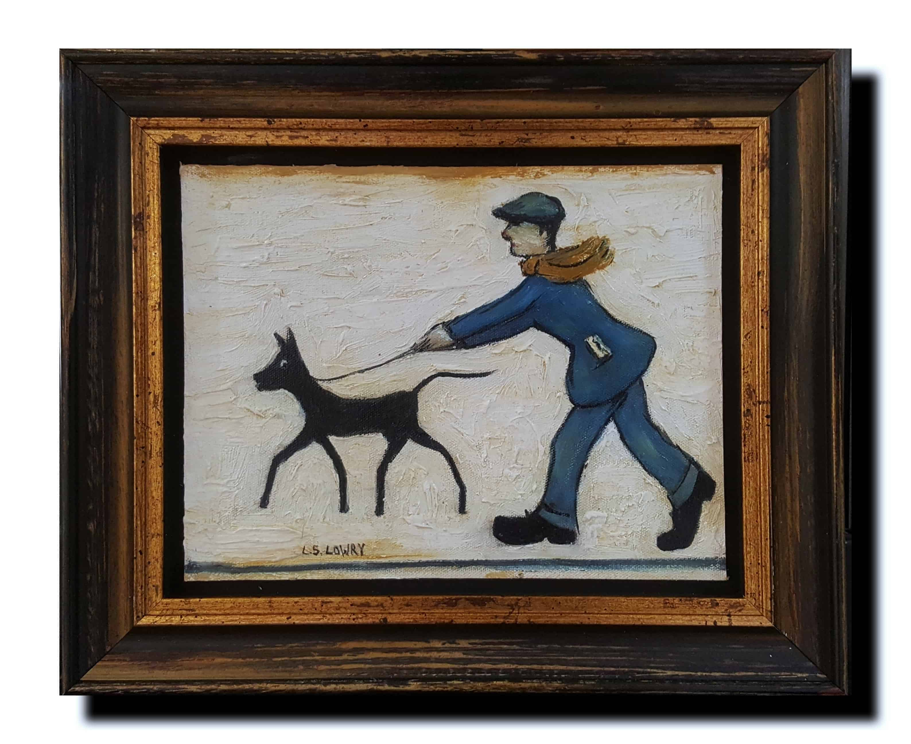 Lowry Man Walking Dog