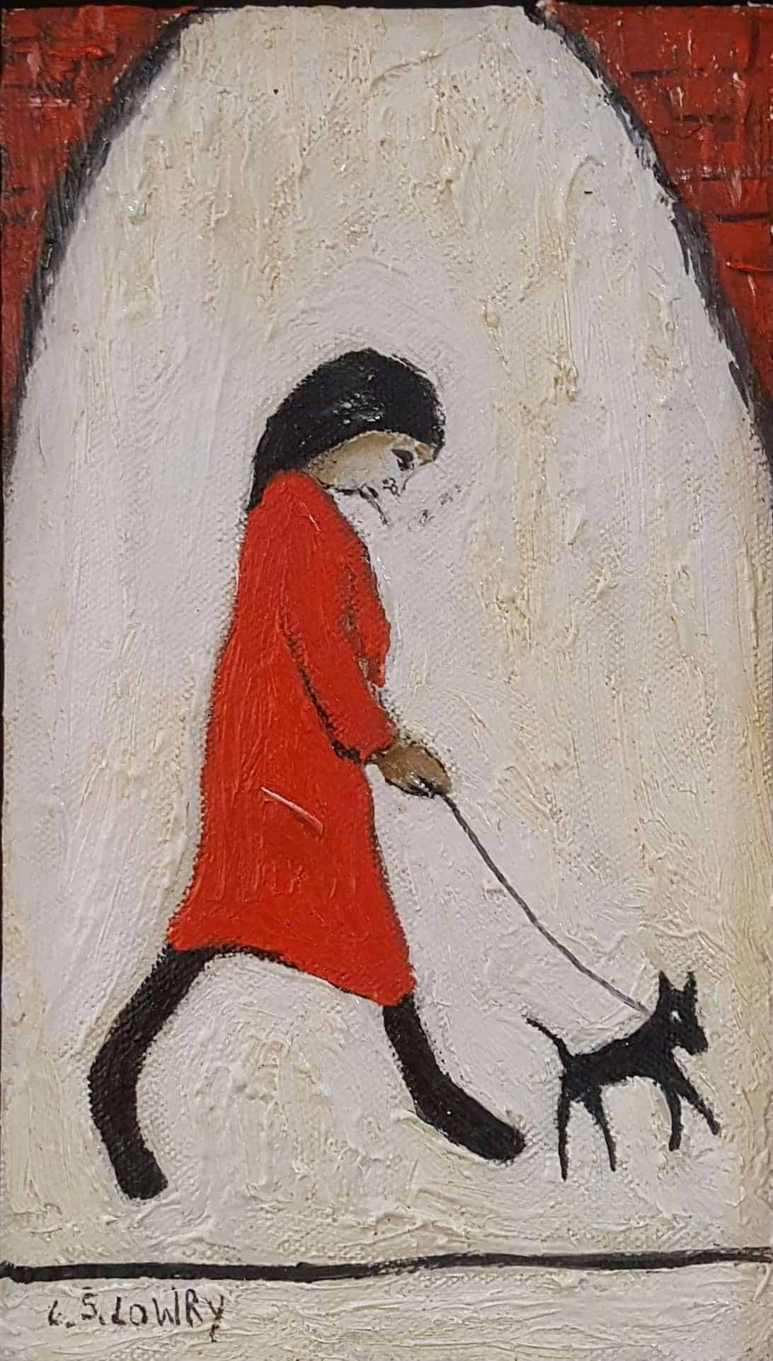 In The Style Of L.S. Lowry – Lady Walking Dog