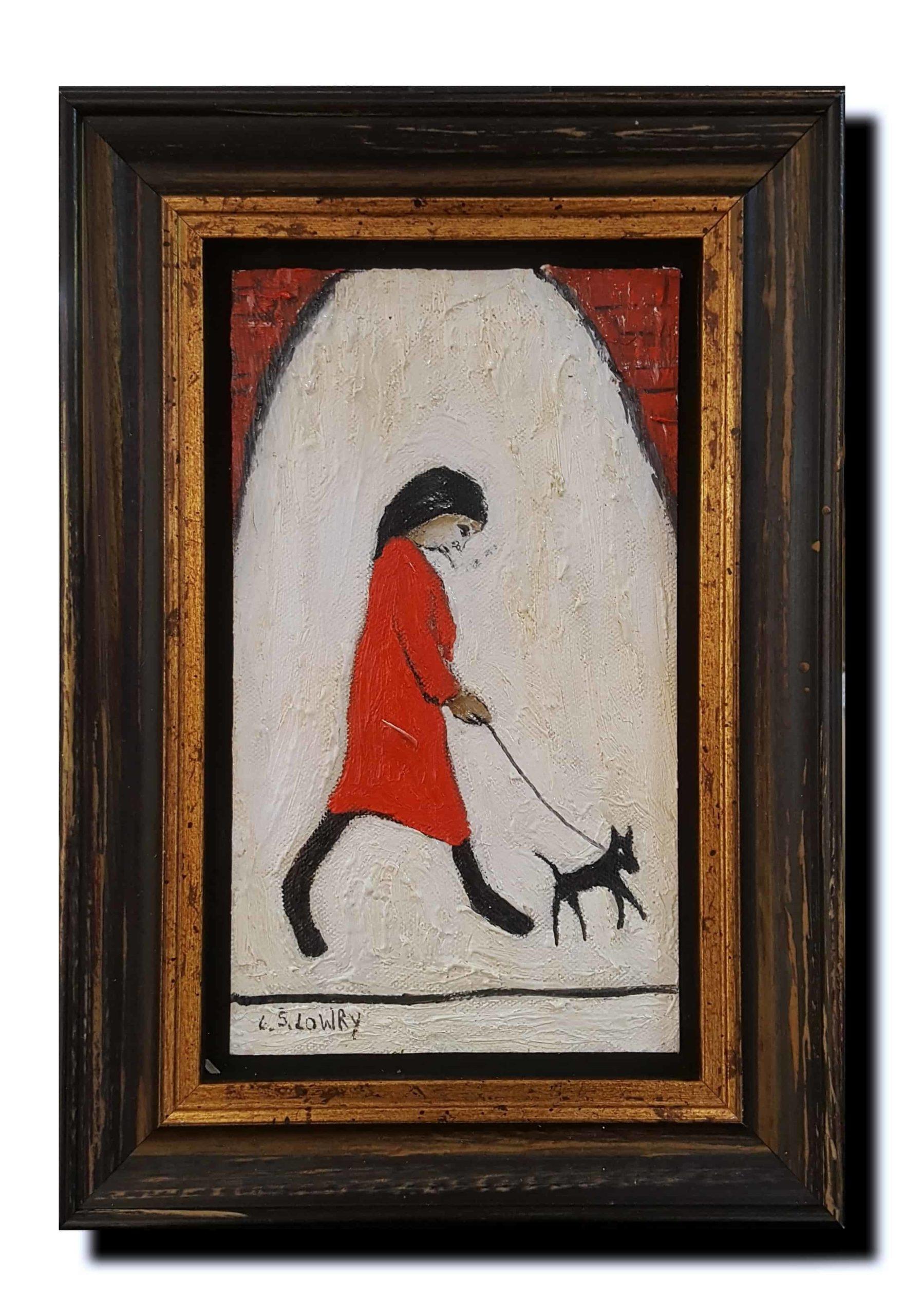 Lowry Woman Walking Dog