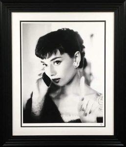 Audrey Hepburn Selfie By JJ Adams framed