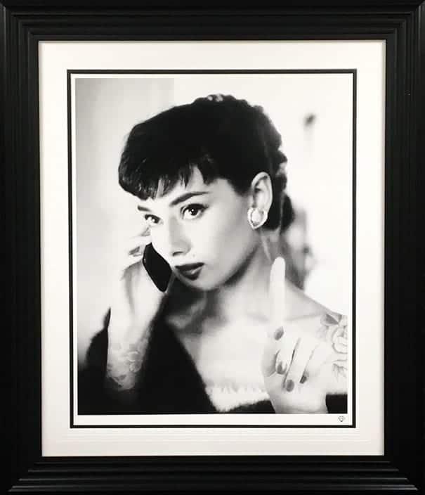 Audrey Hepburn Selfie Framed