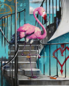 Flamingo on Spiral by Tommy Fiendish
