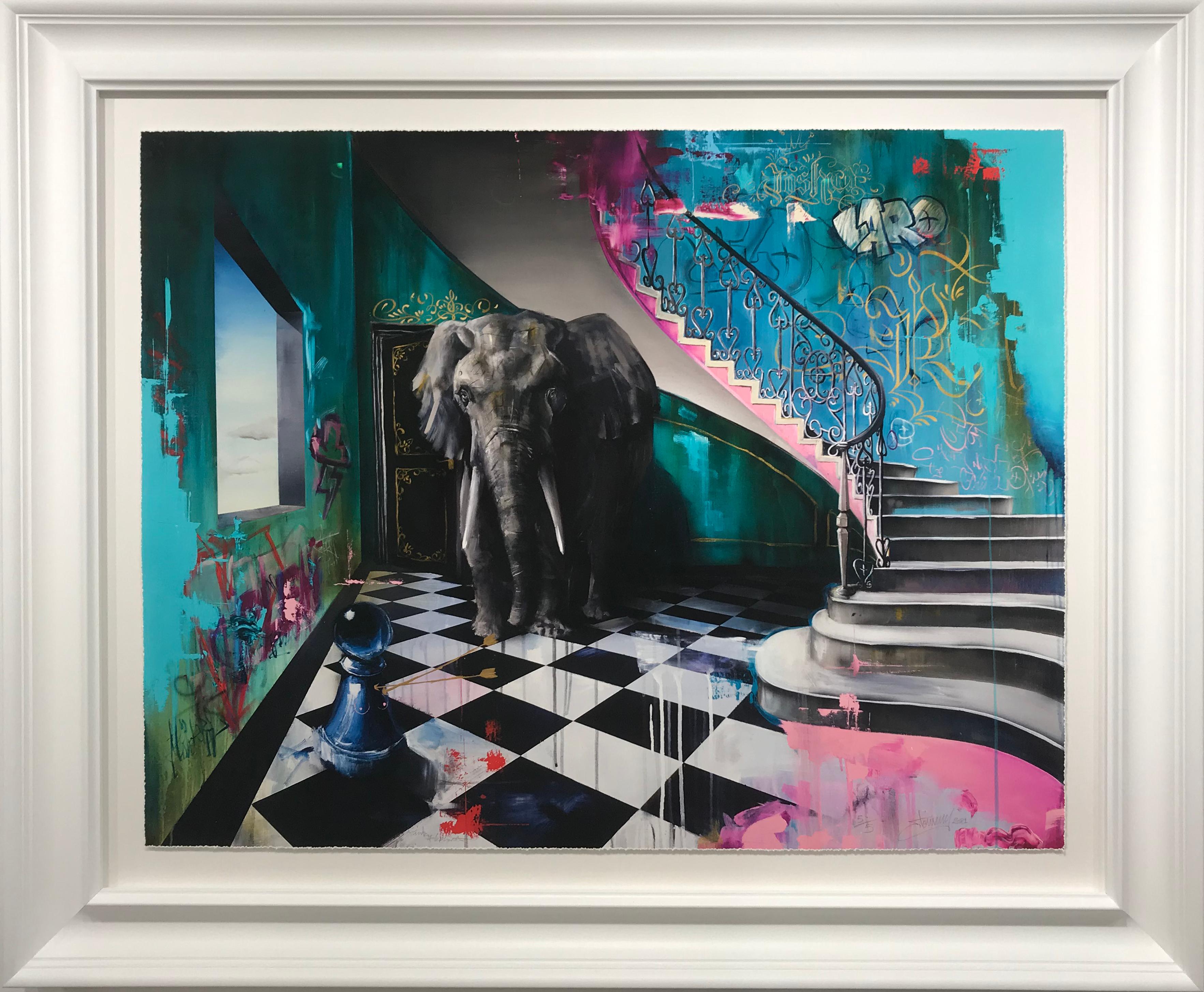 Pink elephant framed